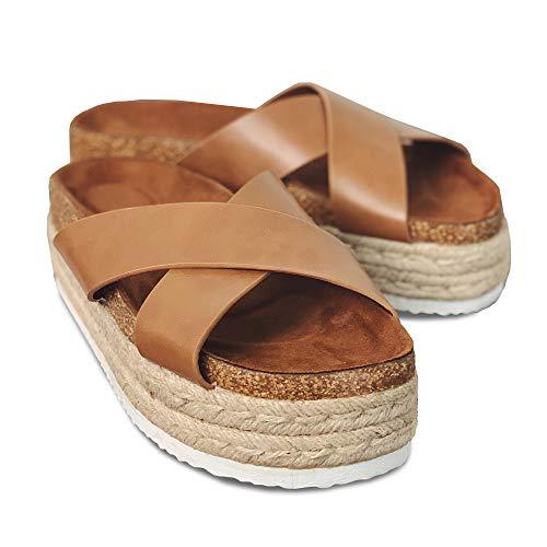 Women's Platform Espadrilles Criss Cross Slide-on Open Toe Faux Leather Studded Summer Sandals (9 B(M) US, 1-Brown)