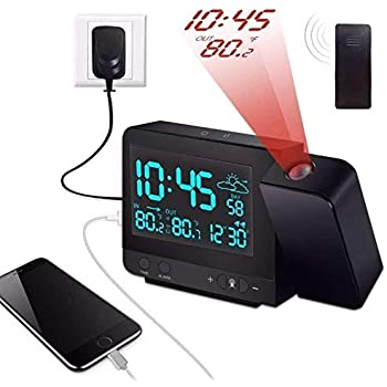 Amazon.com: Reloj despertador de proyección en la pared del ...