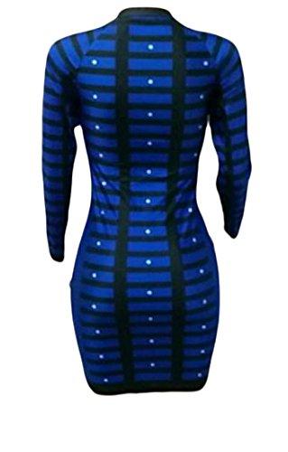 Blu Collo Strisce donne Paletta Pacchetto Maniche Sexy A Dell'anca Vestito Violaceo Del Lunghe A Coolred OZq5f