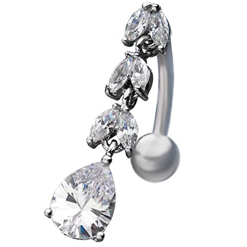 Pierced Owl Tear Drop CZ Crystal Drop Leaf Pattern Top Down Belly Button Navel Ring Chandelier Teardrop Navel Ring