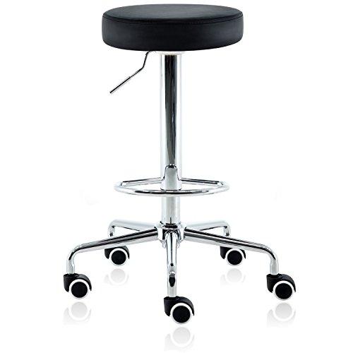 DR.LOMILOMI Hydraulic Rolling Swivel Tall Clinic Massage Bar Stool Chair ()