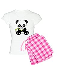 CafePress Women's Light Pajamas - Panda With Bamboo pajamas