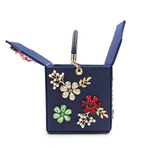 color Haute De Petit Blue Blue Artificielles Main Qualité Sac Soirée Fleurs Mallty Diamant À Carré xYZFqF7w