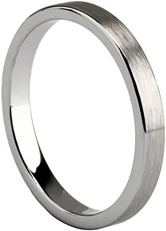 3mm Cheap Tungsten Carbide Ring Brushed Comfort Fit Flat