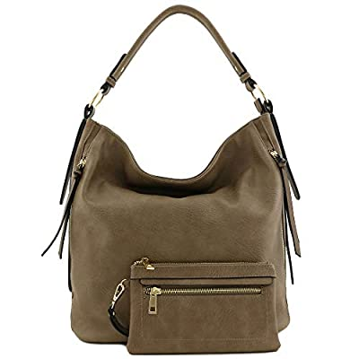 2pc Set Faux Leather Large Hobo Bag with Pouch Purse