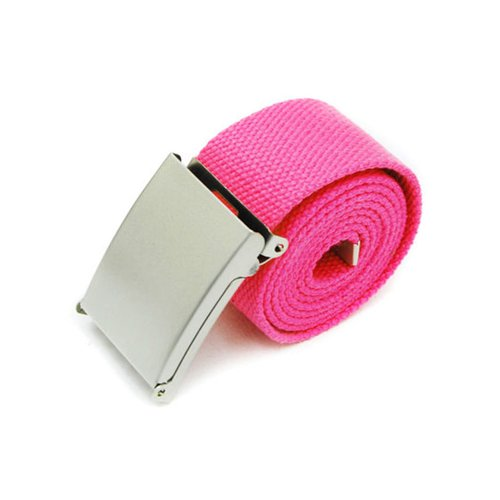 New Fashion Mens Womens Unisex Military Web Cotton Canvas Belt Metal Buckle (Rose - Rose Web