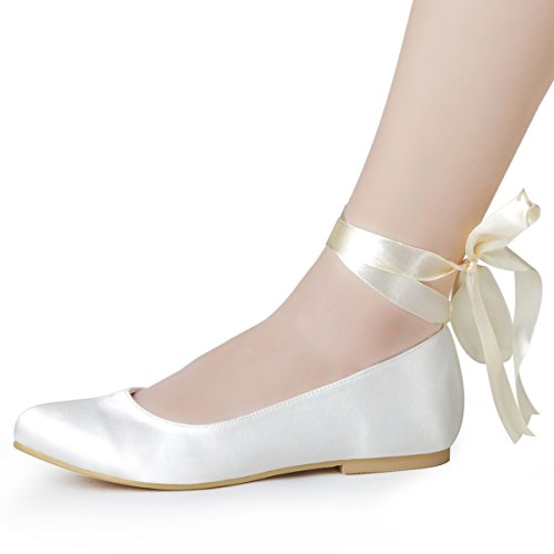ElegantPark EP11105 Women Comfort Flats Closed Toe Ribbon Tie Satin Wedding Bridal Shoes Ivory US 9
