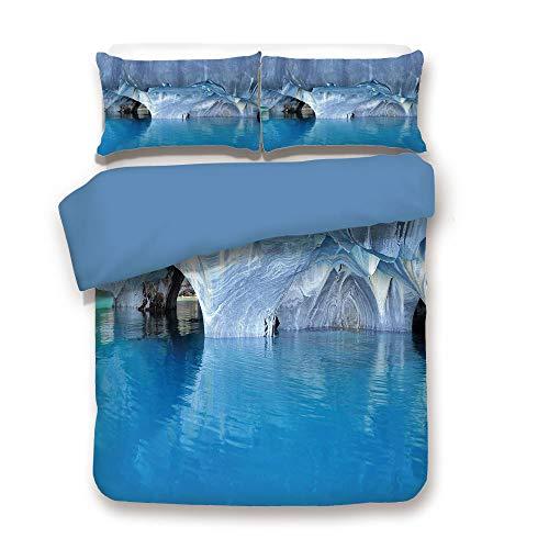 Duvet Cover Set,Blue Back,Blue,Marble Cave General Carrera Lake in Chile Natural Wonders Rocks Azure Water,Blue Purplegrey White,Decorative 3 Pcs Bedding Set by 2 Pillow Shams,Twin ()