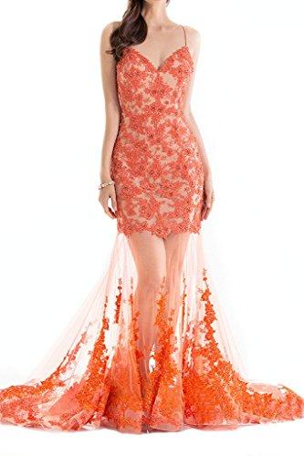Charmant Damen Orange Spitye Durchsichtig Abendkleider Cocktailkleider Rueckfrei Tanzenkleider Lang
