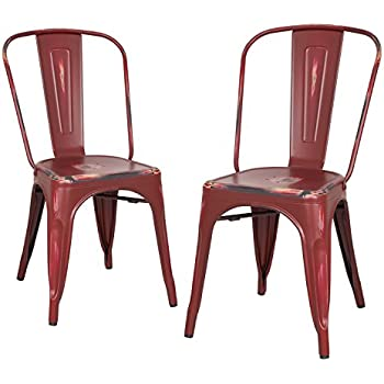 Homebeez Metal Dining Chairs, ANTIQUE RED Set Of 2, Metal Antique Dining  Chairs With