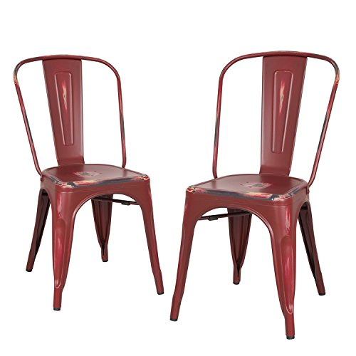 Homebeez Metal Dining Chairs, ANTIQUE RED Set of 2, Metal Antique Dining Chairs with Back Industrial Chic