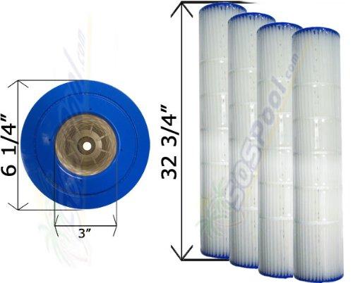 4 Pack 25 sq. ft. Cartridge Filter Pentair Quad D.E. 100 178656 C-6900 FC-1963 by Pentair