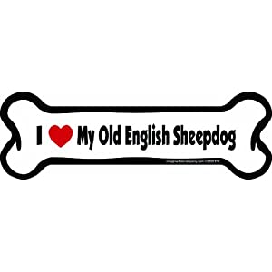 Imagine This Bone Car Magnet, I Love My Old English Sheepdog, 2-Inch by 7-Inch 54