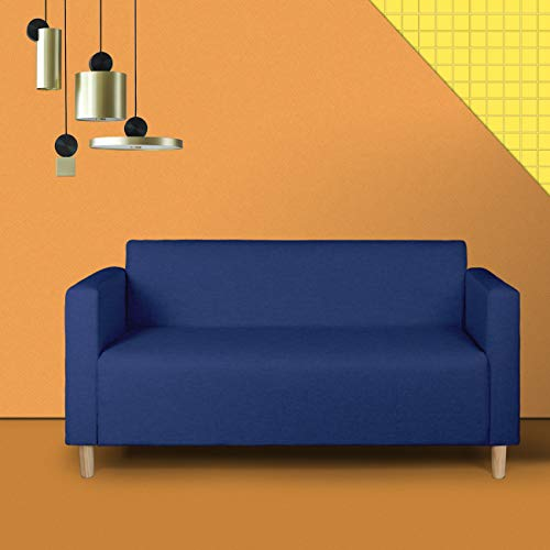 Mid-Century Modern Upholstered Fabric Loveseat Sofa/Couch, 2-seat Loveseats Suitable for Small Spaces (Dark Blue 2)