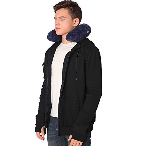 (BOMBAX Men Travel Jacket 10 Pocket Zip Up Hoodies Sweatshirt Pillow Eye Mask Black)