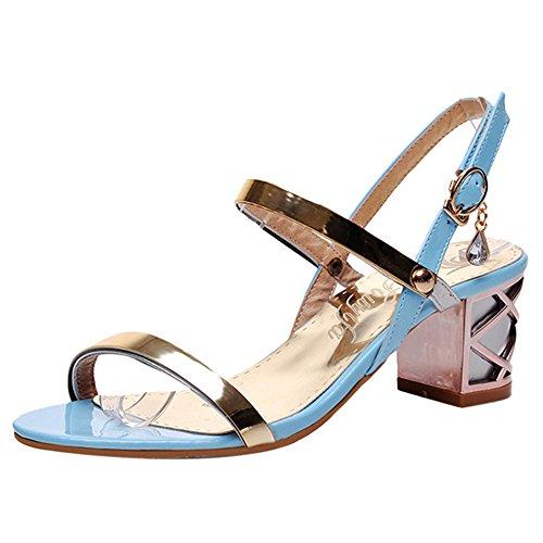 TAOFFEN Women Fashion Mid Heel Sandals Open Toe Summer Shoes Blue I3Ftui5uaI