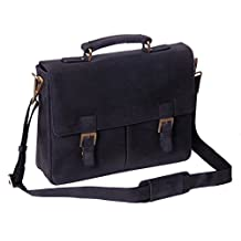 Executive Real Leather Briefcase For Men Navy Blue Vintage Look Office Satchel Bag COBAR