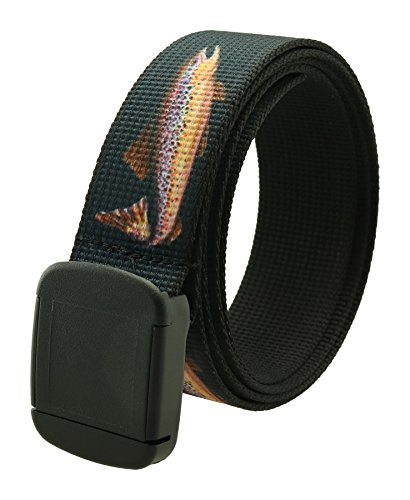Fish Pattern Metal Free Hiker Web Belts Made in USA by Thomas Bates (Navy Rainbow Trout)