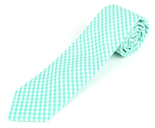 Men's Cotton Skinny Necktie Tie Gingham Checkered Pattern - - Gingham Dress Green