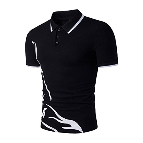 Forthery Men Polo Shirts Short Sleeve Slim Sports Henley T-Shirt Clearance Sale (Black, US L = Asia XL)