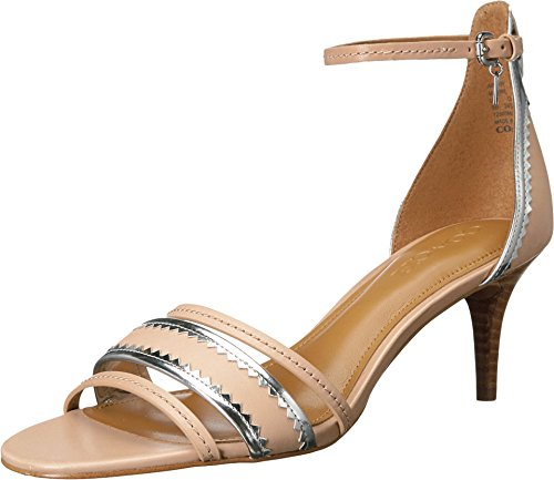 COACH Women's Maxine Beechwood/Silver Matte Calf/Mirror Metallic Sandal