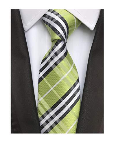 Elfeves Men's Modern Tartan Checks Plaid Style Formal Ties Woven Pattern Necktie (One Size, Green black)