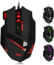 Gaming Mouse Wired,ZELOTES Wired Computer Gamer Mice with with Adjustable 7200 DPI and 7 LED Colors Changing f