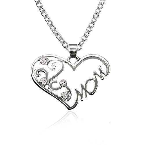 Rhinestone Encrusted Hollow Heart Shaped MOM Necklace Sliver Clavicle Chain Jewelry Gift By Balakie