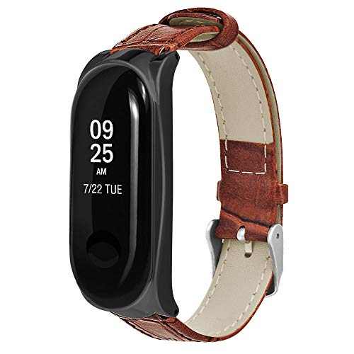 (Xindda Watch Bands for XIAOMI MI Band 3, Luxury Card Buckle Bamboo Stripe Leather Classic Band Replacement Watch Band Wristband for Xiao Mi Band 3)