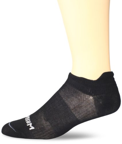 WrightSock Mens Coolmesh II Tab, Black, Sock Size:10-13/Shoe Size: 6-12