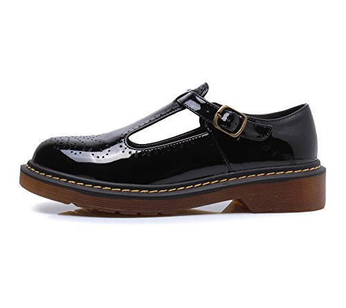 Toe Jane Black Smilun ��s Classic Mary Shoes Lady T Buckle Flats Round xqCFv