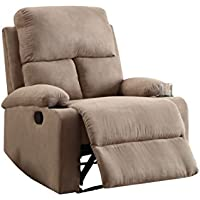 ComfortScape Modern Recliner Chair with Cup Holder, Beige Microfiber
