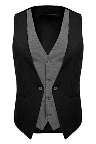 - Mens Slim Fit Dress Vest 4 Button Foraml Suit Vest Waistcoat