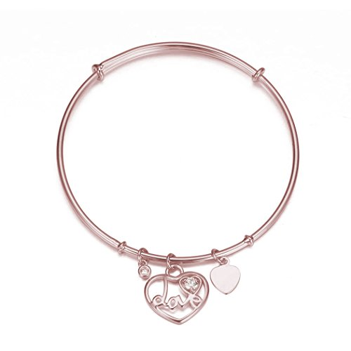 Simple 18k Rose Gold Platinum Rhinestone Heart Hamsa Hand Tree Of Life Multiple Pendant Bangle Bracelet (Love R)