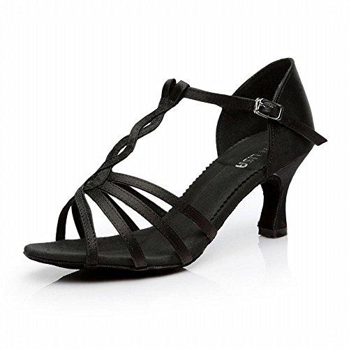 BYLE Sandalias de Cuero Tobillo Modern Jazz Samba Zapatos de Baile Zapatos de Baile Latino Danza Amistad Adulto Fondo Blando de Tacón Alto Zapatos de Baile Negro 7CM Onecolor