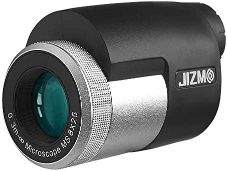 Jizmo 8×25 High Definition Monocular, Close Focus 1 ft, Fully Multi Coated Optical Lens BAK4 Prism, Mens Gift Wide View Monocular for Bird Watching Hunting Travel Sports Events