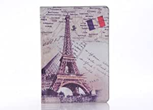 W-RainBow ipad Air Retro British Style Series Folio Leather Cover Stand Protective Case for Apple Ipad 5 Air 9.7 inches(Eiffel Tower in Paris)