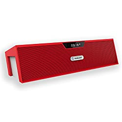 Soundance Wireless FM Radio Portable Bluetooth Speaker Rechargeable Digital Alarm Clock with USB Built-in Mic for Bedroom Bedside Office Desk iPhone Android PC Laptop Desktop Computer, SDY019 Red