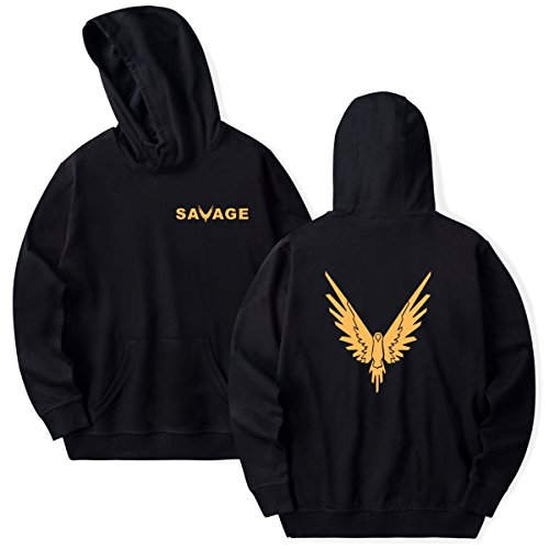 SIMYJOY Unisex Savage Maverick Hoodie Golden Parrot Pullover Logan Paul Fans Cool Hip Pop Sweatshirt for Men Women Teen Black S