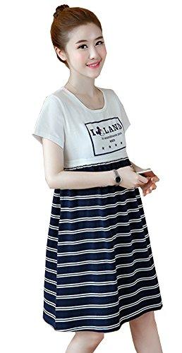 水差しポジティブしかしながら妊婦は韓国版の妊婦の半袖の縞が哺乳ワンピースの夏を結びつけます (ホワイト, XL)