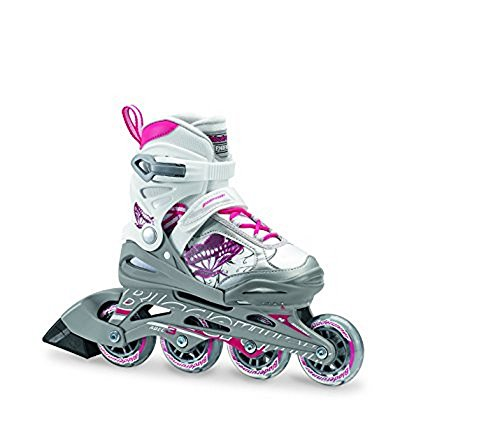 Rollerblade Bladerunner Phoenix Girls Adjustable Fitness Inline Skate, White and Pink, Junior, Value Performance Inline Skates, Youth Junior 1 to 4