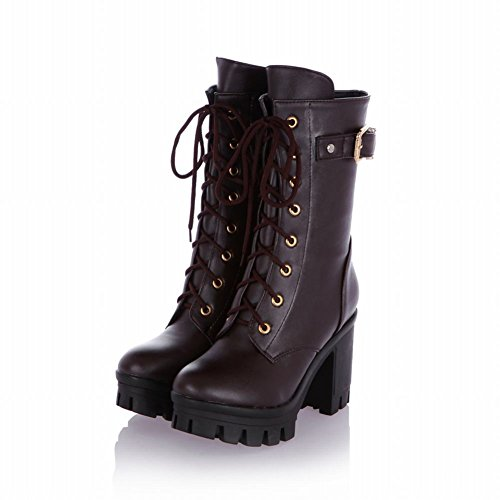 Carol Shoes Fashion Womens Performance Buckle Combat Lace-up Military Platform Chunky Heel Motorcycle Cosplay Boots Brown mmSHQ0sX