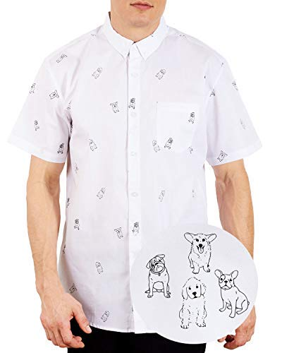 Visive Hawaiian Shirts for Mens | Short Sleeve Button Down Modern Fit Woven Shirt (Dogs White,2X-Large) ()