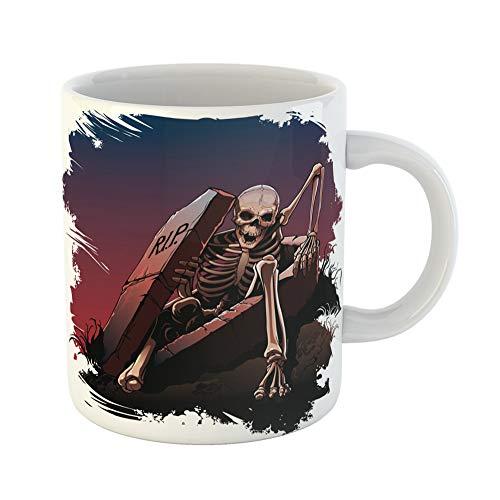 Emvency Coffee Tea Mug Gift 11 Ounces Funny Ceramic Awake Skeleton From Coffin Body Bones Dark Gifts For Family Friends Coworkers Boss Mug -