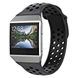 UMTELE Compatible with Fitbit Ionic Bands,Soft Silicone Band Breathable Two-Toned Wristband Replacement Strap Accessory for Men and Women