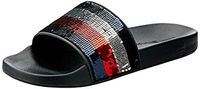 Tommy Hilfiger Women's Signature Sequinned Strap Pool Slides 100% Polyester, Red/White/Blue, 36 EU