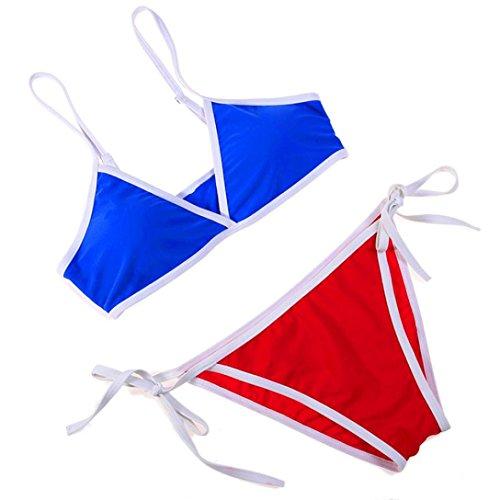 Blue Brazil Bikini - Women 2PCS Blue Red Brazil Bikini Bikini Set Push-Up Padded Swimwear Swimsuit Beachwear (M)