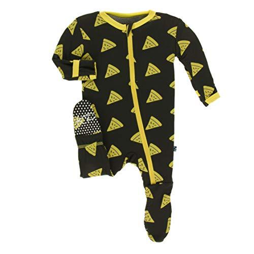 (Kickee Pants Little Boys Print Footie with Zipper - Zebra Pizza, 18-24 Months )