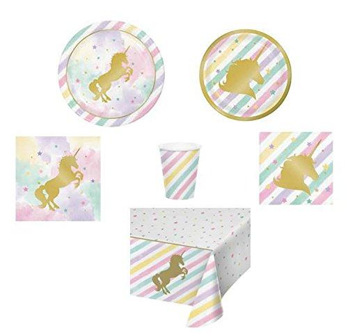 Unicorn Party Supplies, Disposable Plates, Napkins, Cups, Bowls, Tablecloth, Unicorn-Theme Party Supply Pack, 6-Piece Bundle