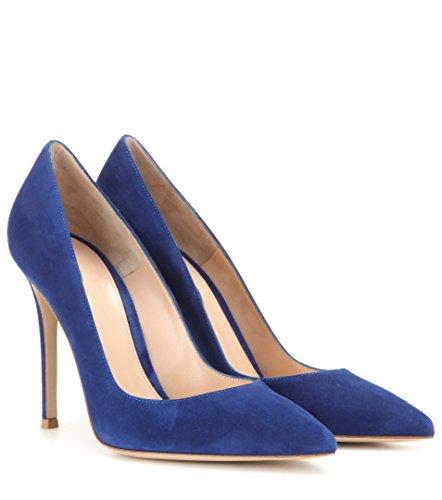 femme fermées Escarpins Sexy Bleu Femme Haut Talon Coupe Aiguille Chaussures Soireelady FPS4qw